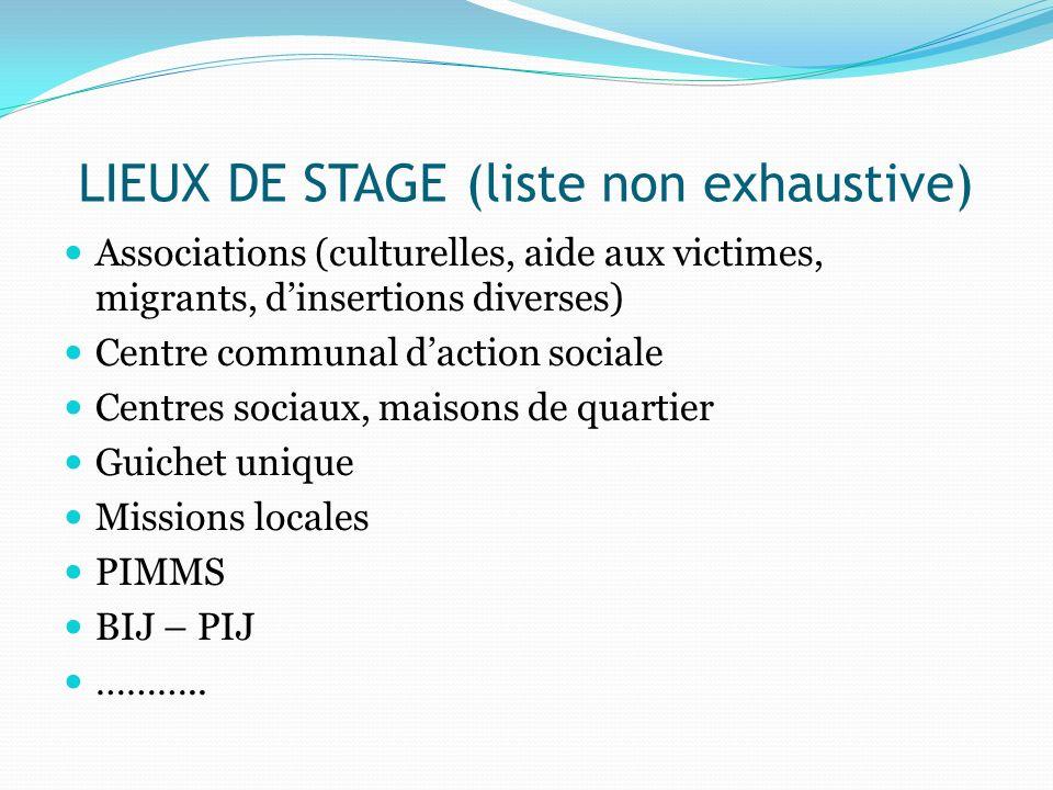 LIEUX DE STAGE (liste non exhaustive)