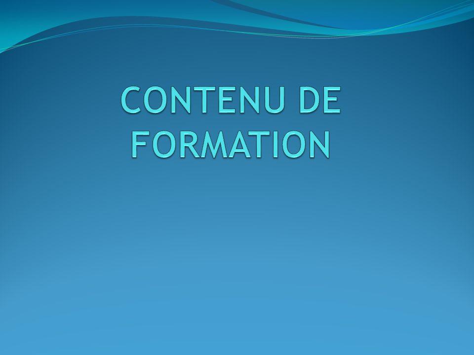 CONTENU DE FORMATION