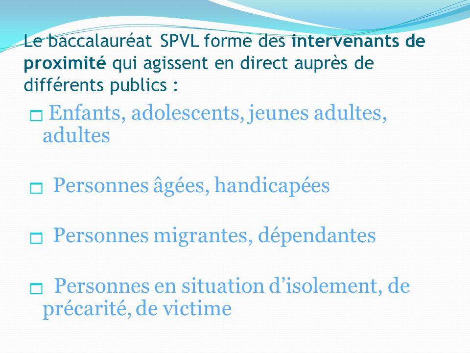 Le baccalauréat SPVL forme des intervenants de proximité qui agissent en direct auprès de différents publics :