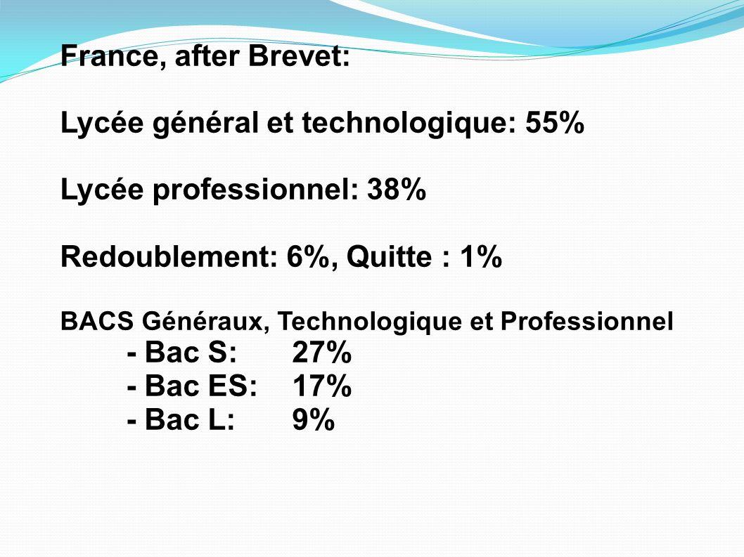 Lycée général et technologique: 55% Lycée professionnel: 38%