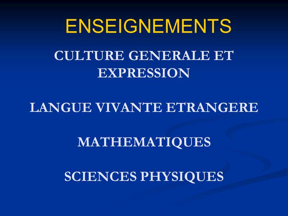ENSEIGNEMENTS CULTURE GENERALE ET EXPRESSION LANGUE VIVANTE ETRANGERE MATHEMATIQUES SCIENCES PHYSIQUES.