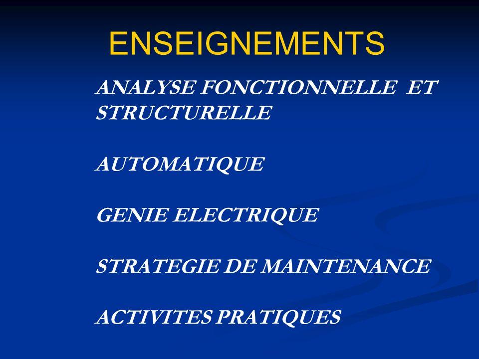 ENSEIGNEMENTS ANALYSE FONCTIONNELLE ET STRUCTURELLE AUTOMATIQUE GENIE ELECTRIQUE STRATEGIE DE MAINTENANCE ACTIVITES PRATIQUES.