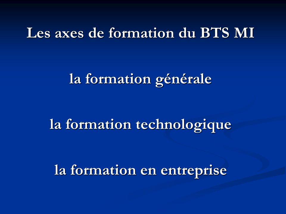 Les axes de formation du BTS MI la formation générale