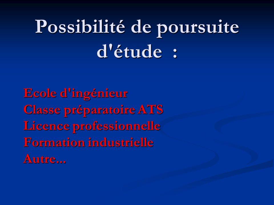 Possibilité de poursuite d étude :