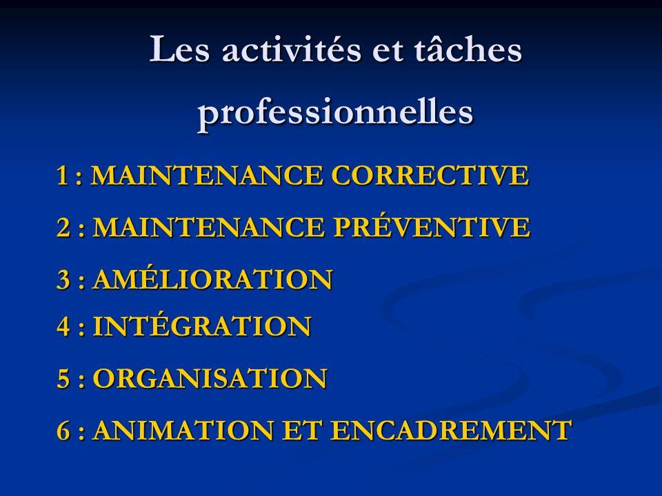 Les activités et tâches professionnelles