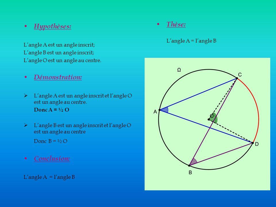 Thèse: Hypothèses: Démonstration: Donc B = ½ O Conclusion: