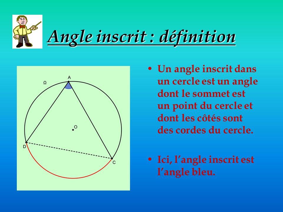 Angle inscrit : définition