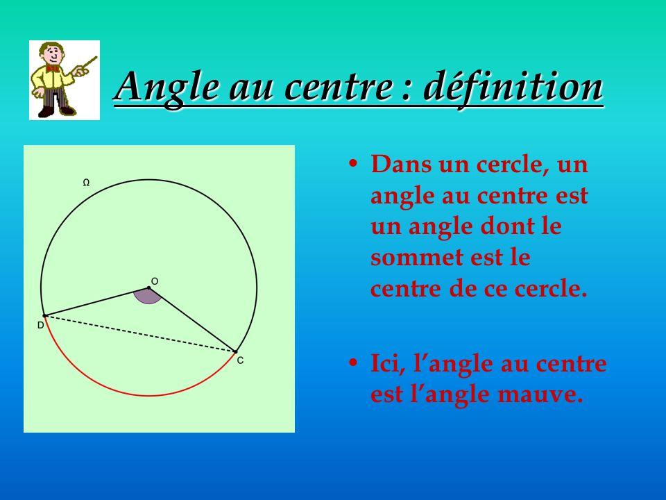 Angle au centre : définition