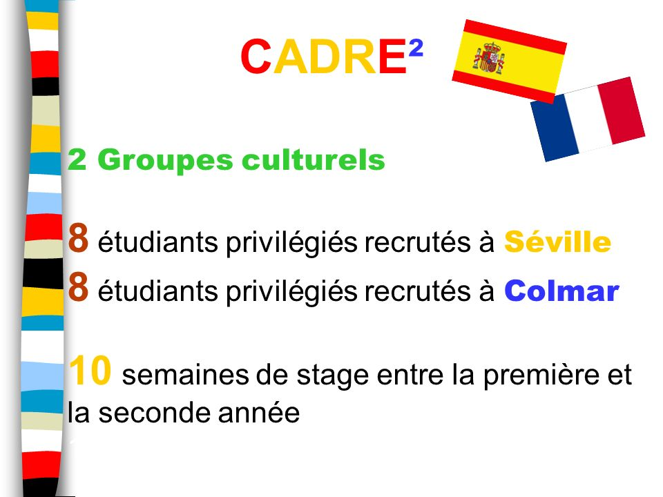 CADRE² 8 étudiants privilégiés recrutés à Séville
