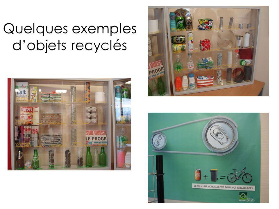 Quelques exemples d'objets recyclés