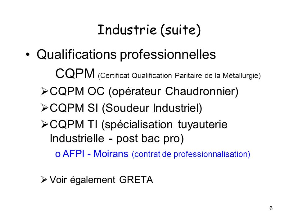 Qualifications professionnelles