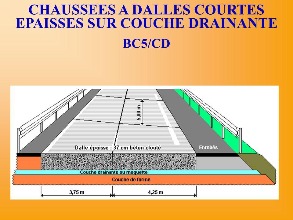 CHAUSSEES A DALLES COURTES EPAISSES SUR COUCHE DRAINANTE