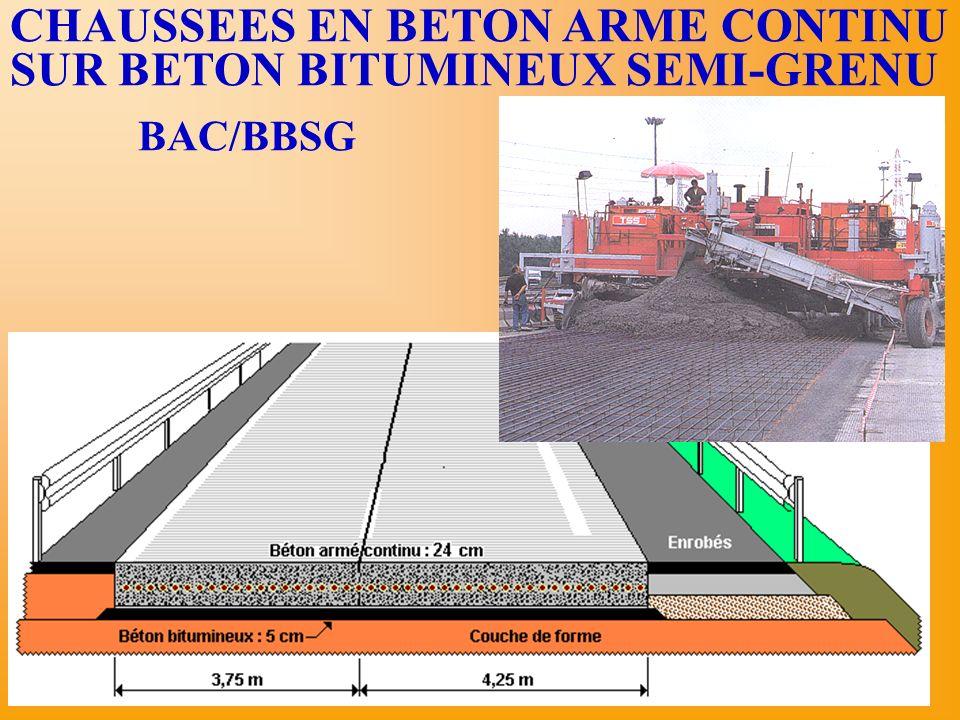 CHAUSSEES EN BETON ARME CONTINU SUR BETON BITUMINEUX SEMI-GRENU
