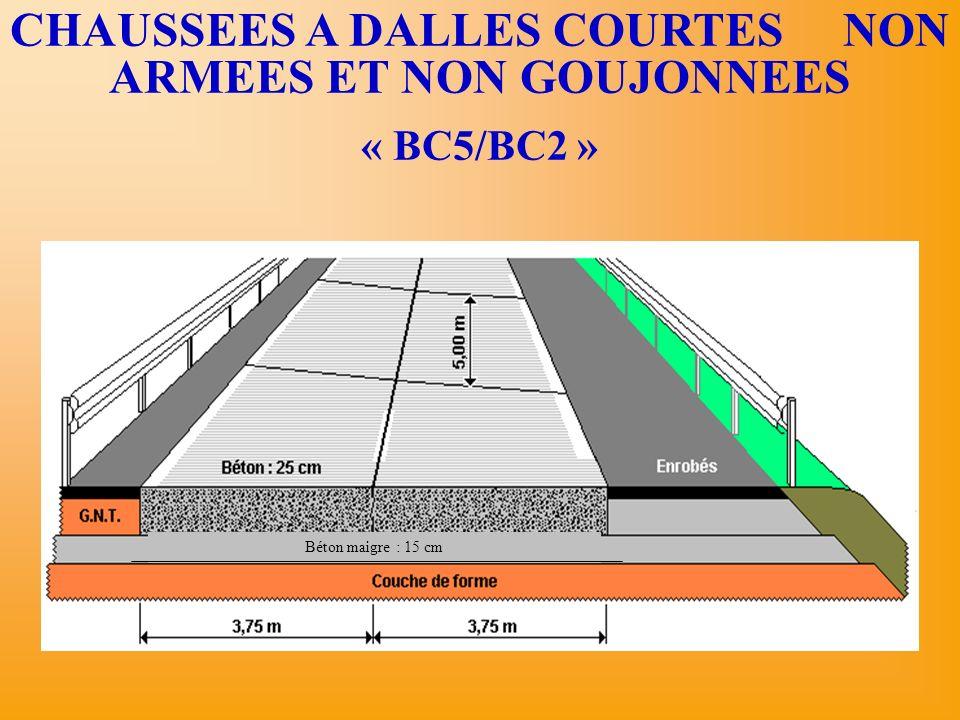 CHAUSSEES A DALLES COURTES NON ARMEES ET NON GOUJONNEES