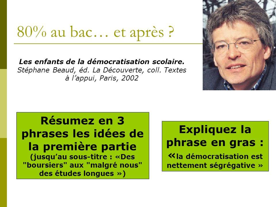 80% au bac… et après Les enfants de la démocratisation scolaire. Stéphane Beaud, éd. La Découverte, coll. Textes à l'appui, Paris, 2002.