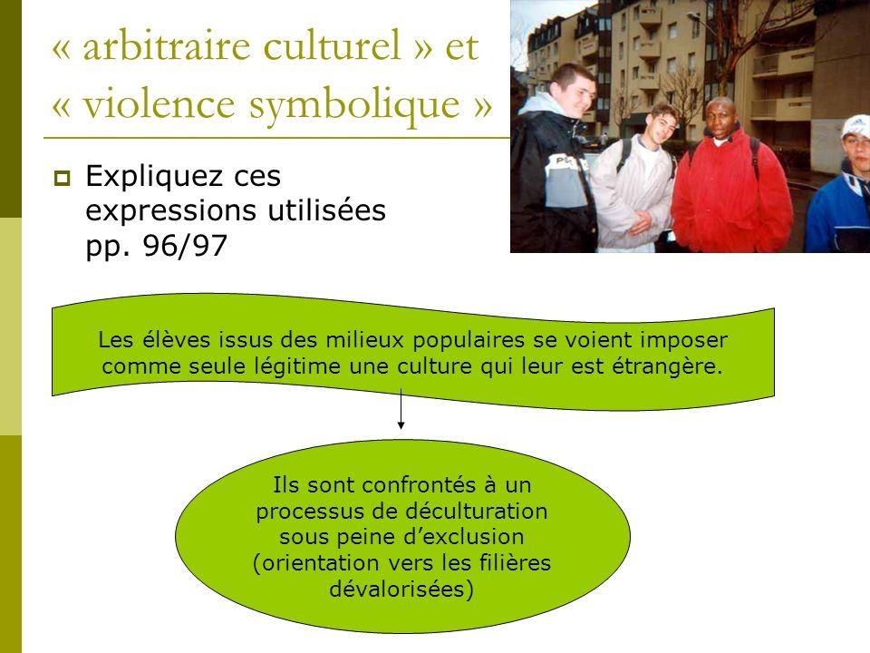 « arbitraire culturel » et « violence symbolique »