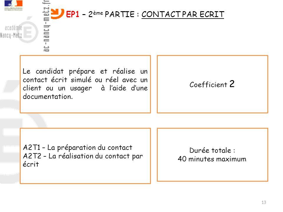 EP1 – 2ème PARTIE : CONTACT PAR ECRIT