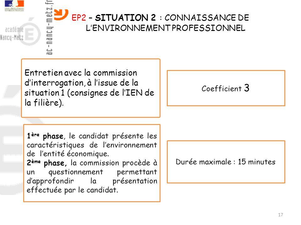 EP2 – SITUATION 2 : CONNAISSANCE DE L'ENVIRONNEMENT PROFESSIONNEL