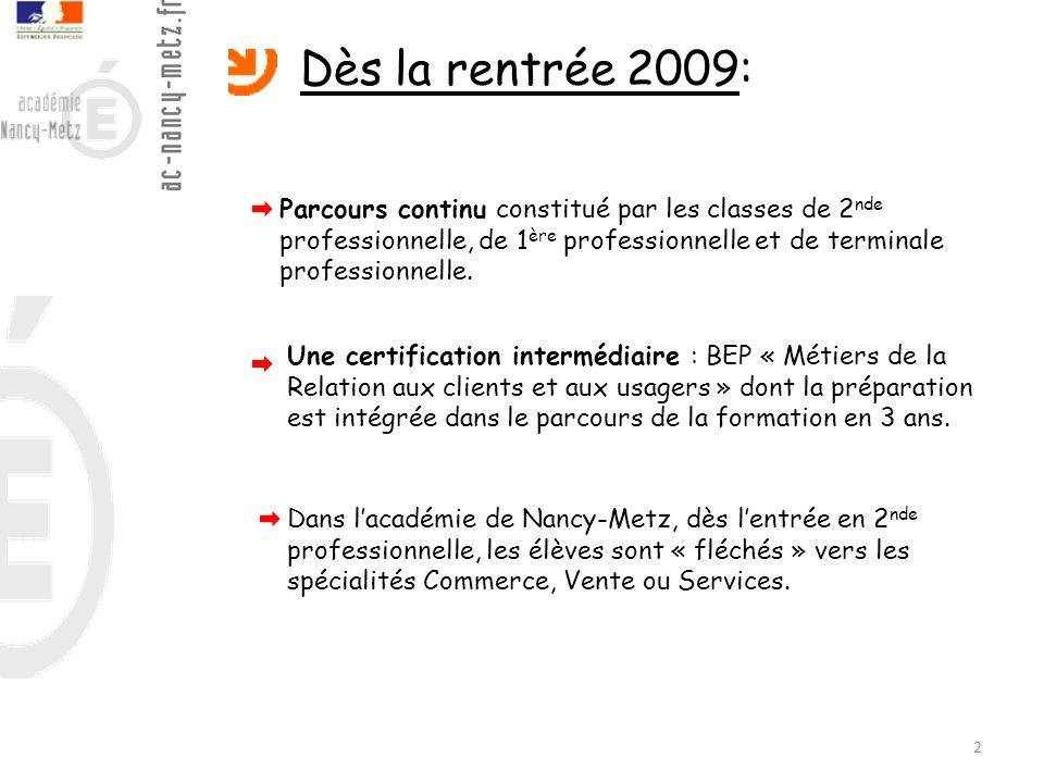 Dès la rentrée 2009: Parcours continu constitué par les classes de 2nde professionnelle, de 1ère professionnelle et de terminale professionnelle.