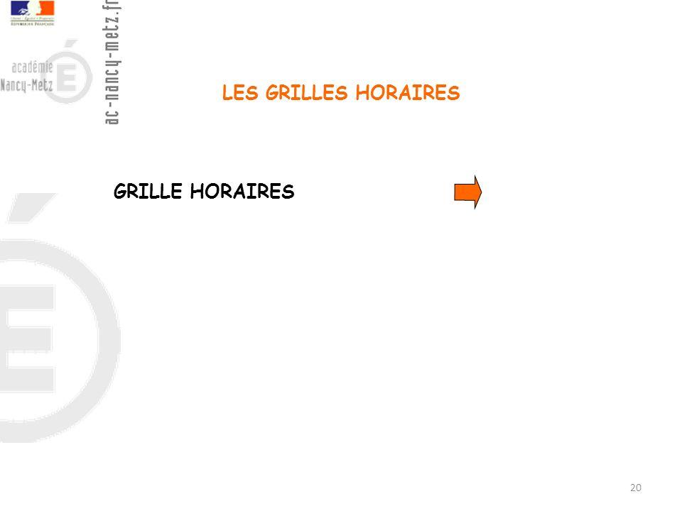 LES GRILLES HORAIRES GRILLE HORAIRES