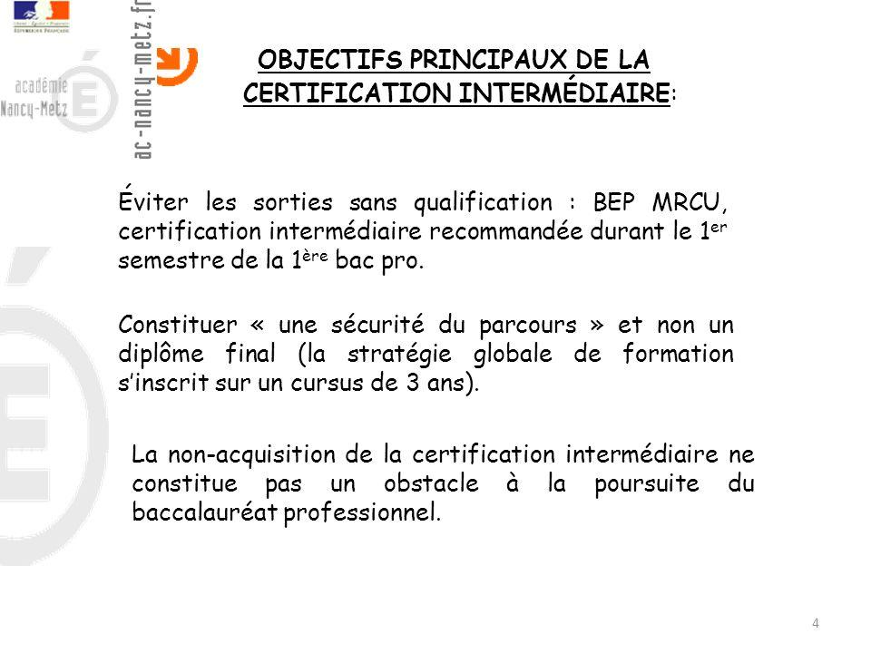 OBJECTIFS PRINCIPAUX DE LA CERTIFICATION INTERMÉDIAIRE: