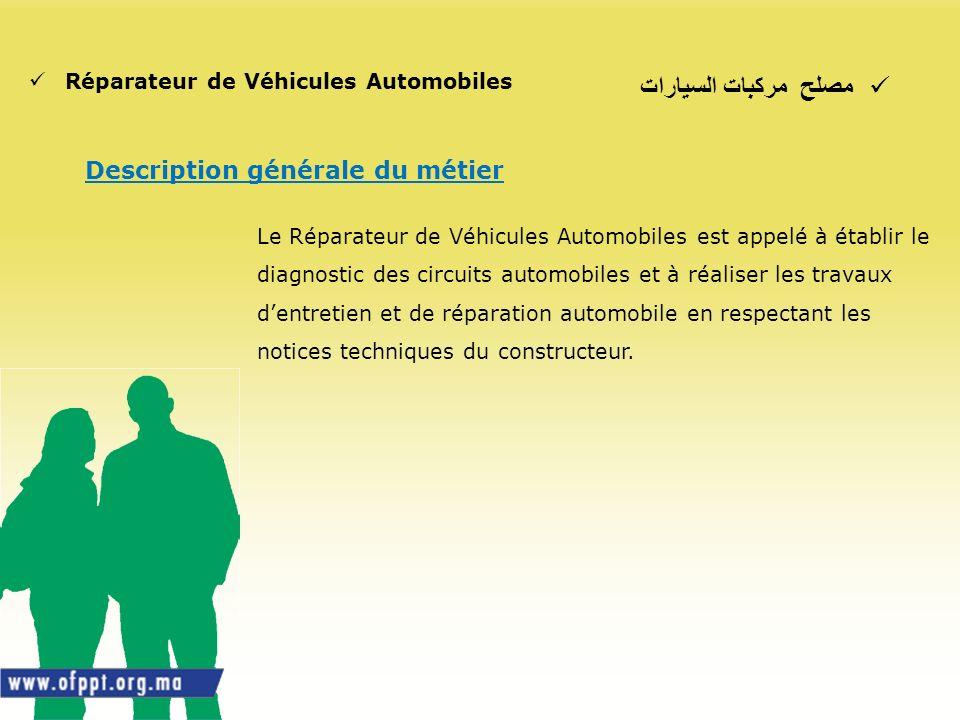 مصلح مركبات السيارات Description générale du métier