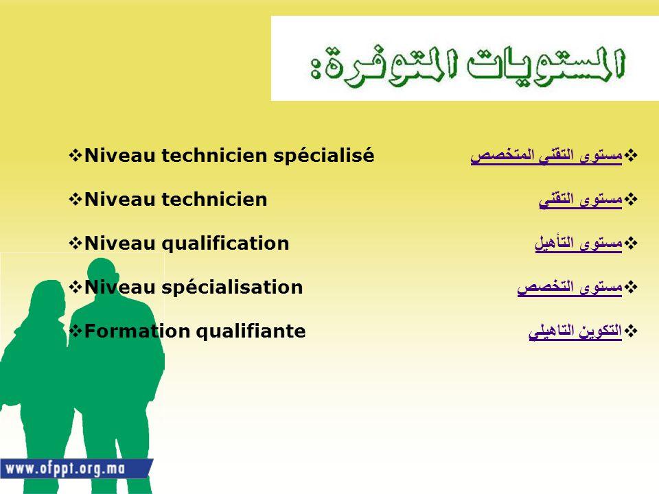 مستوى التقني المتخصص مستوى التقني. مستوى التأهيل. مستوى التخصص. التكوين التاهيلي. Niveau technicien spécialisé.