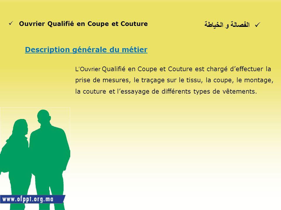 الفصالة و الخياطة Description générale du métier