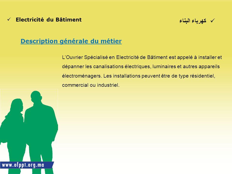 كهرباء البناء Description générale du métier Electricité du Bâtiment