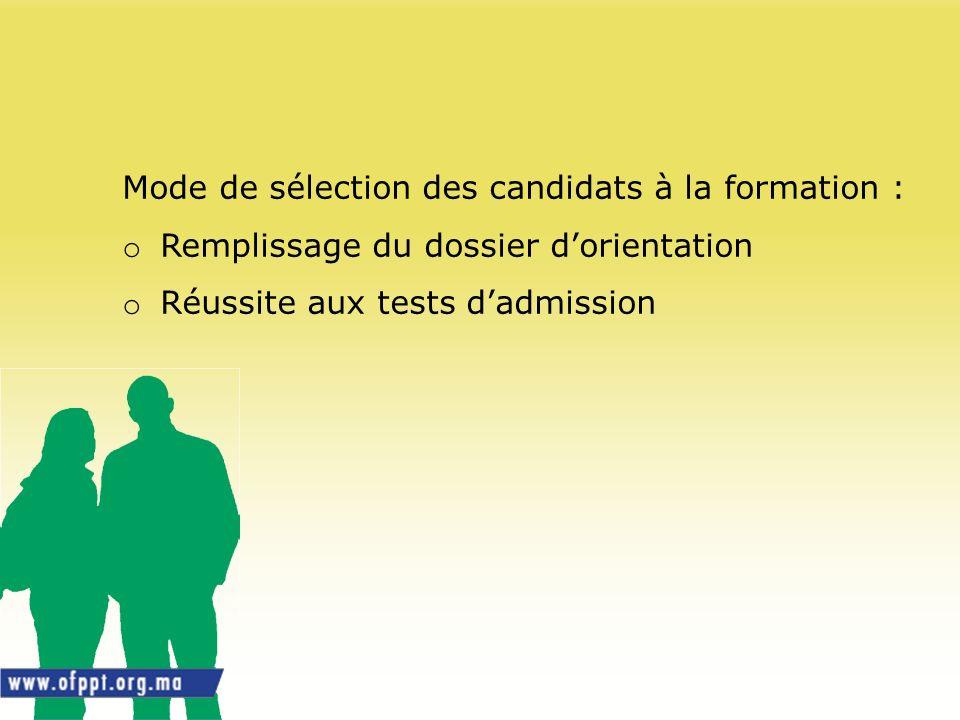 Mode de sélection des candidats à la formation :