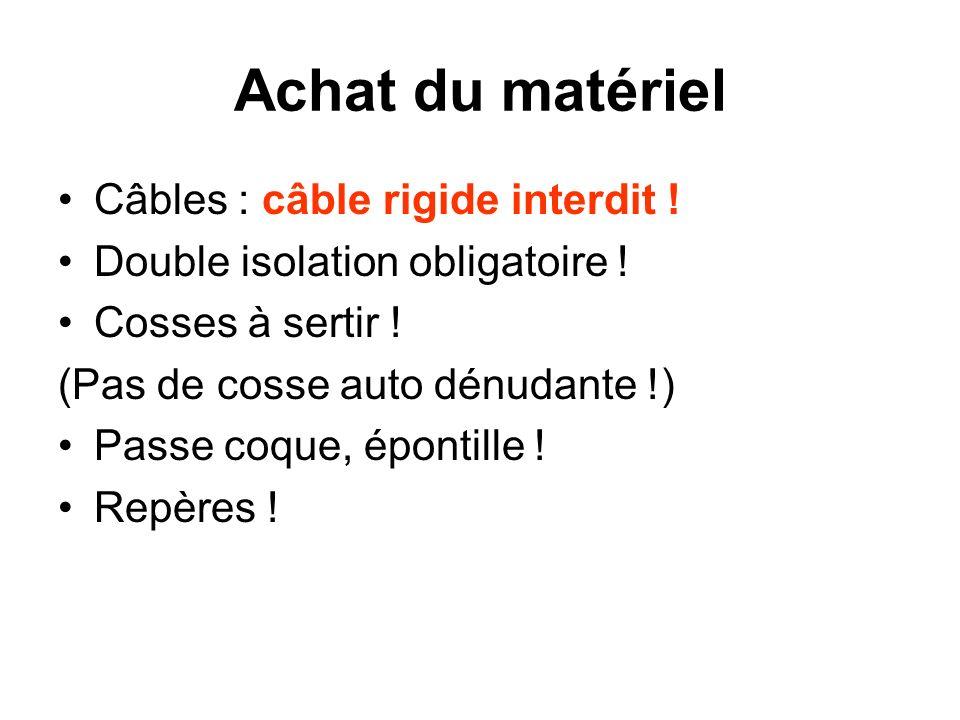 Achat du matériel Câbles : câble rigide interdit !