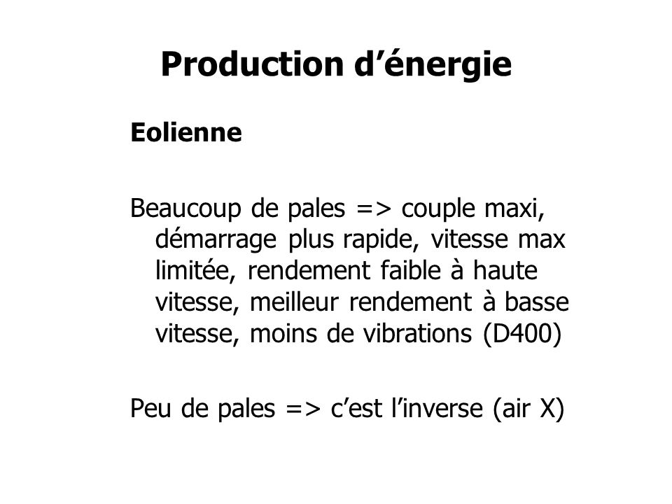 Production d'énergie Eolienne