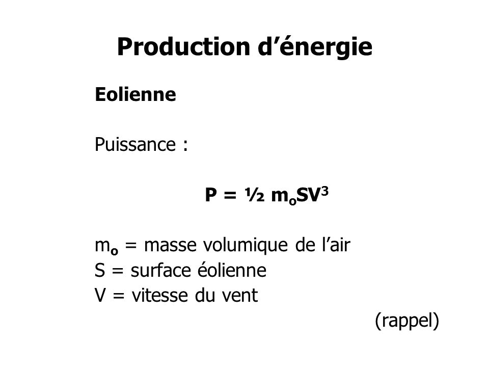 Production d'énergie Eolienne Puissance : P = ½ moSV3
