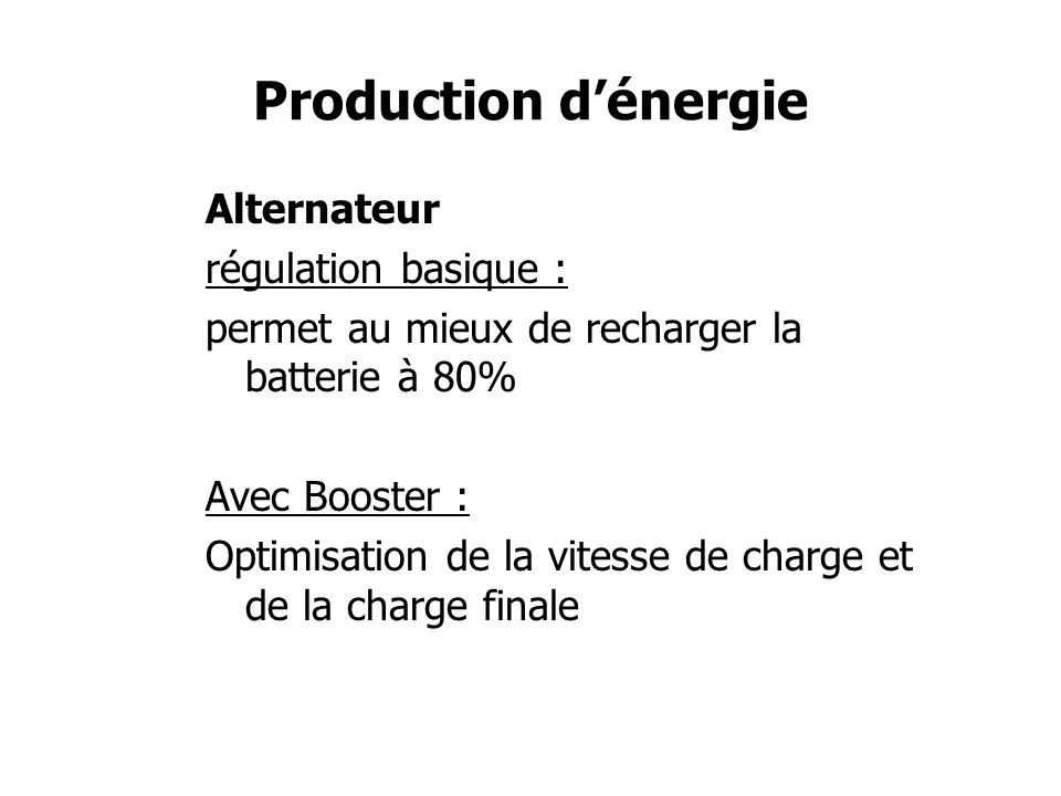 Production d'énergie Alternateur régulation basique :