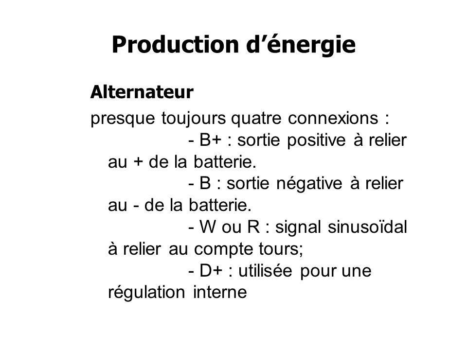 Production d'énergie Alternateur