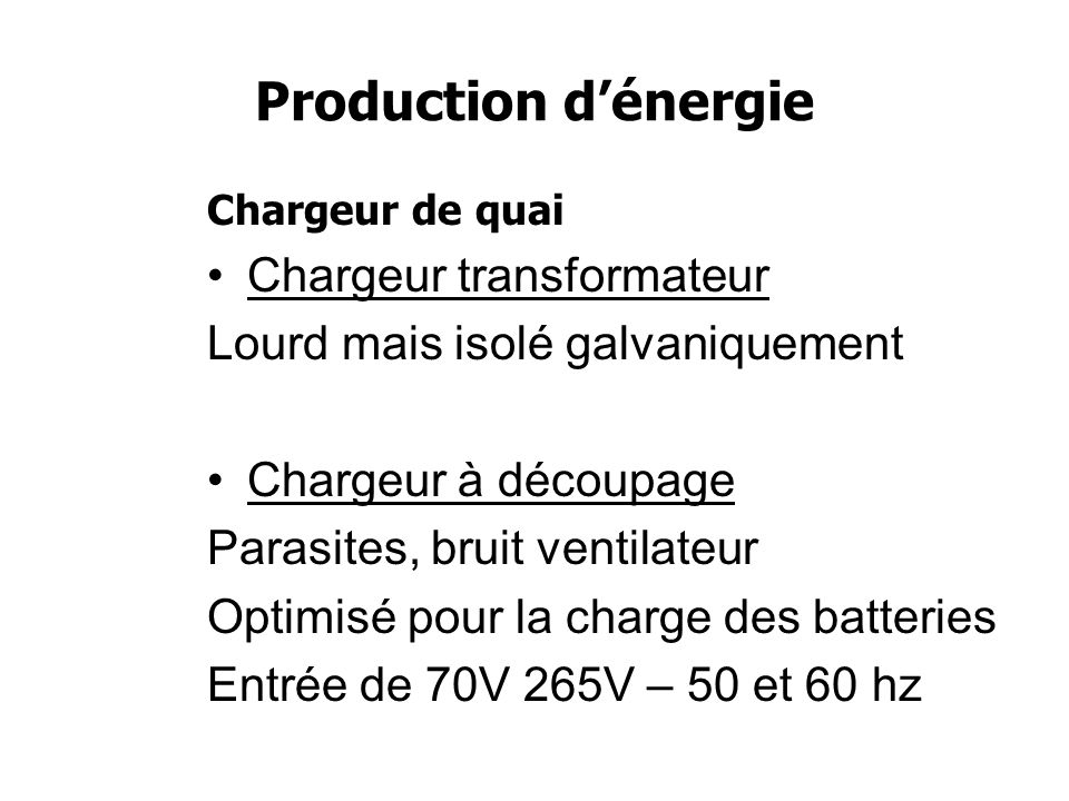 Production d'énergie Chargeur transformateur