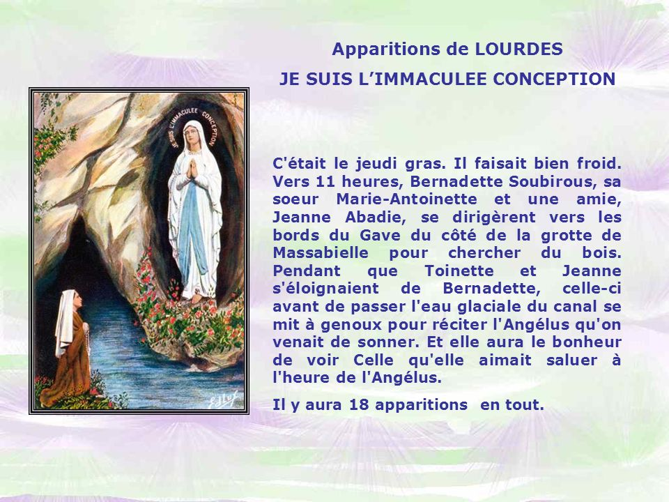 Apparitions de LOURDES JE SUIS L'IMMACULEE CONCEPTION