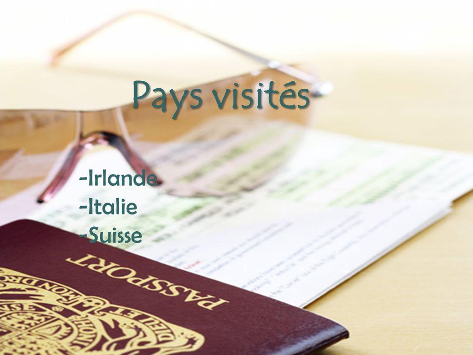 - Pays visités -Irlande -Italie -Suisse