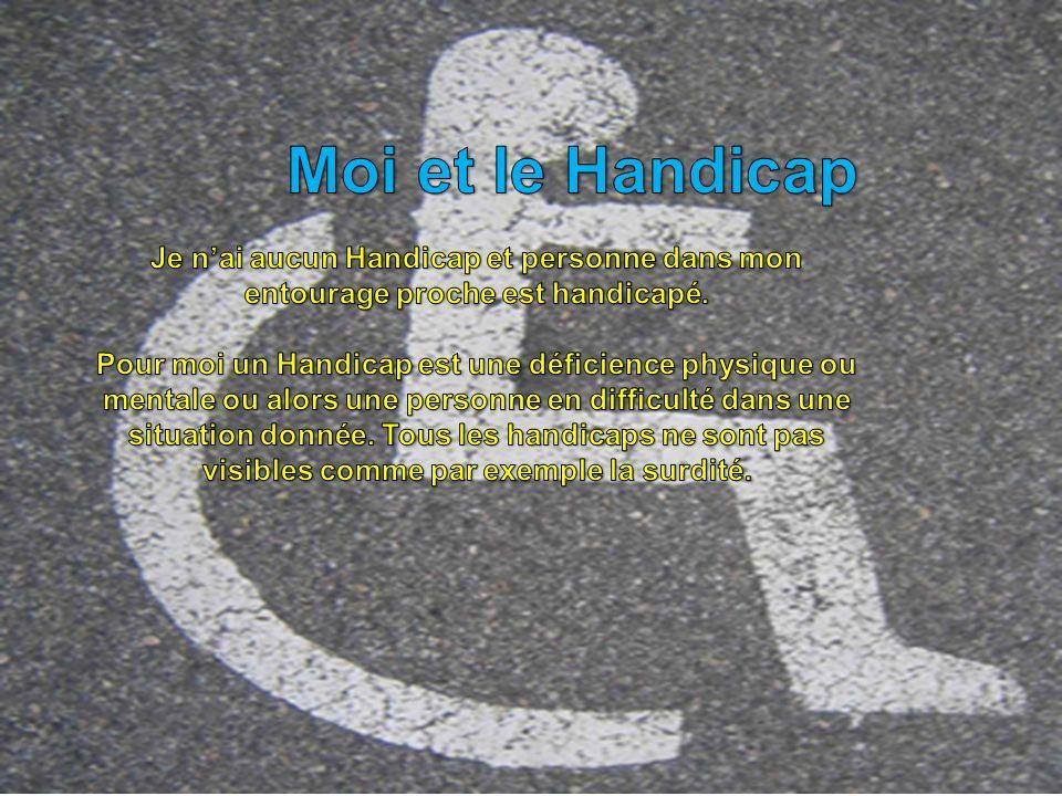 Moi et le Handicap Je n'ai aucun Handicap et personne dans mon entourage proche est handicapé.