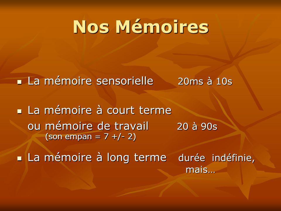 Nos Mémoires La mémoire sensorielle 20ms à 10s