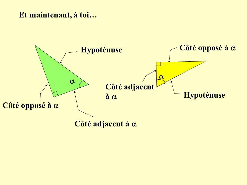 Et maintenant, à toi…  Côté opposé à  Hypoténuse.   Côté adjacent à  Hypoténuse. Côté opposé à 
