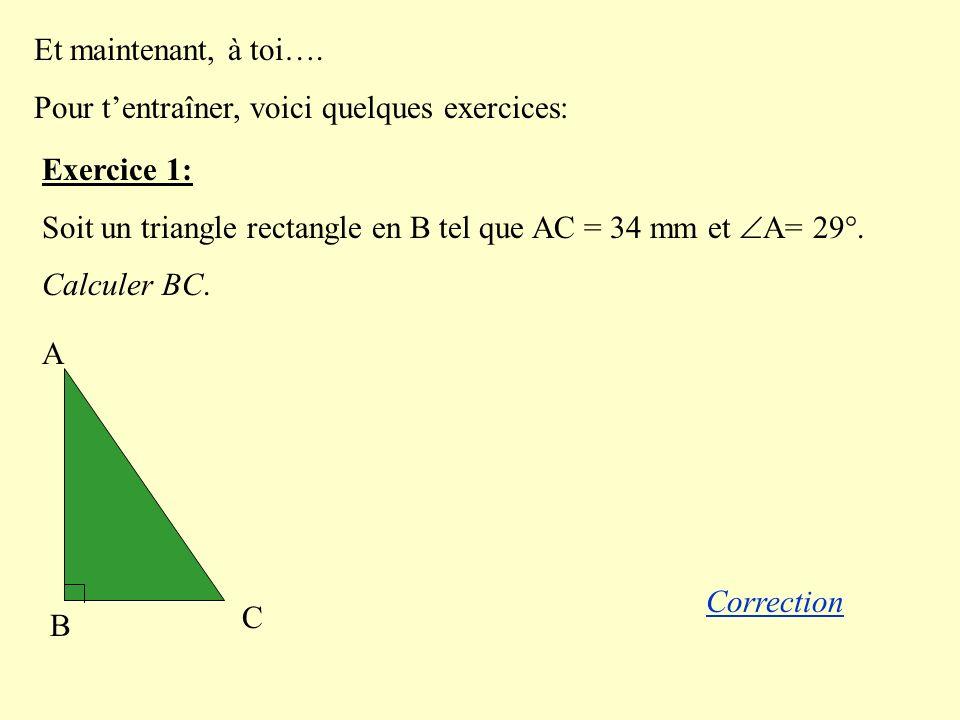 Et maintenant, à toi…. Pour t'entraîner, voici quelques exercices: Exercice 1: Soit un triangle rectangle en B tel que AC = 34 mm et A= 29°.
