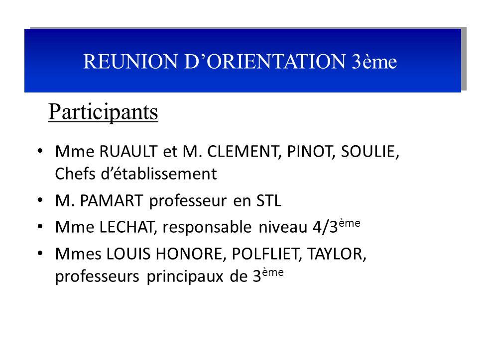REUNION D'ORIENTATION 3ème