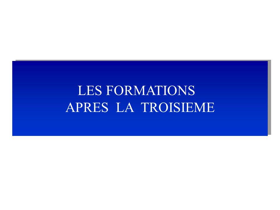 LES FORMATIONS APRES LA TROISIEME