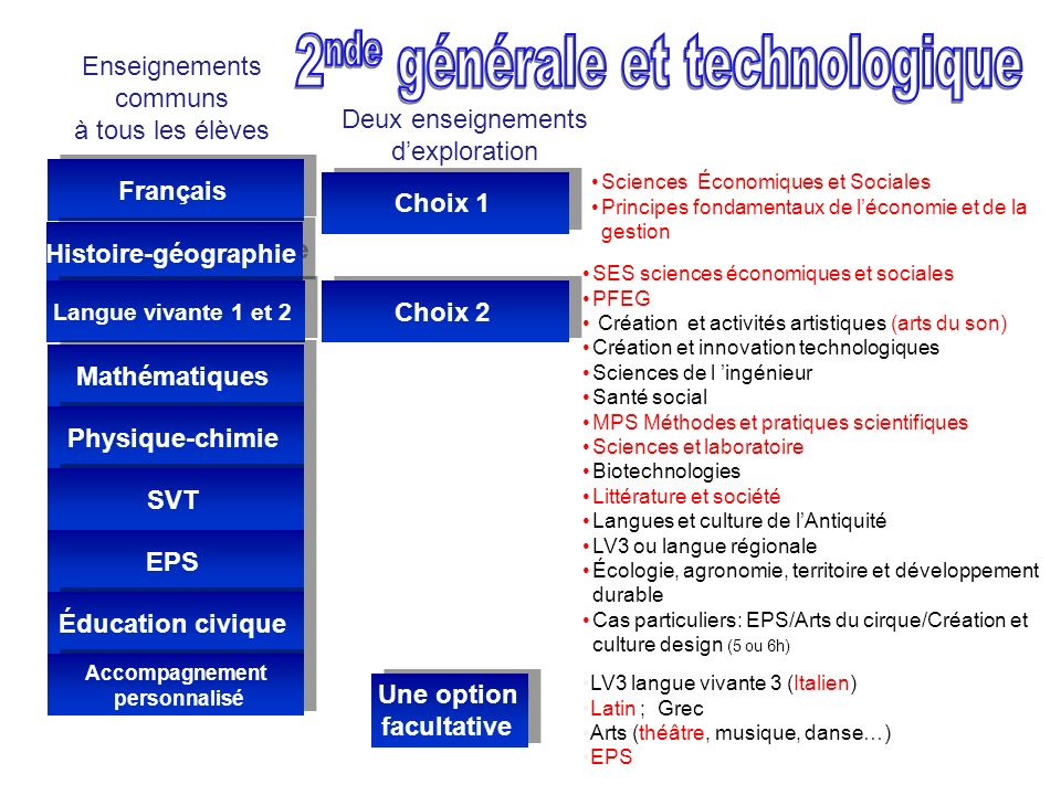 2nde générale et technologique Une option facultative