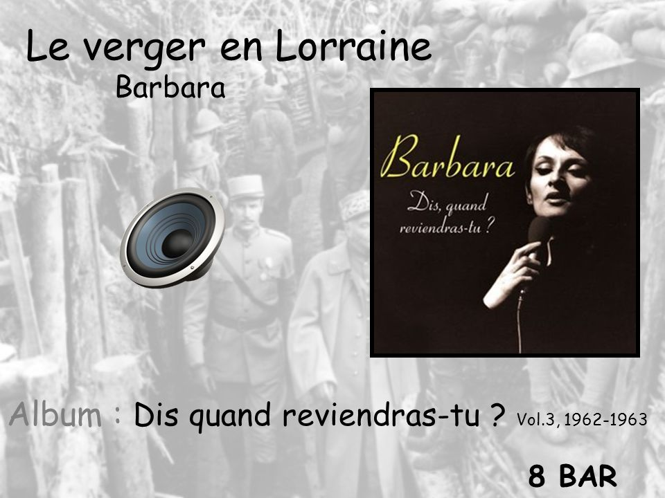 Le verger en Lorraine Barbara Album : Dis quand reviendras-tu Vol.3, 1962-1963 8 BAR