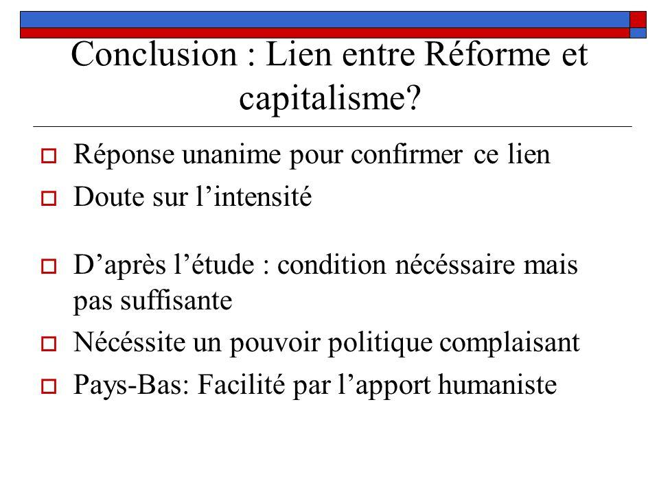 Conclusion : Lien entre Réforme et capitalisme