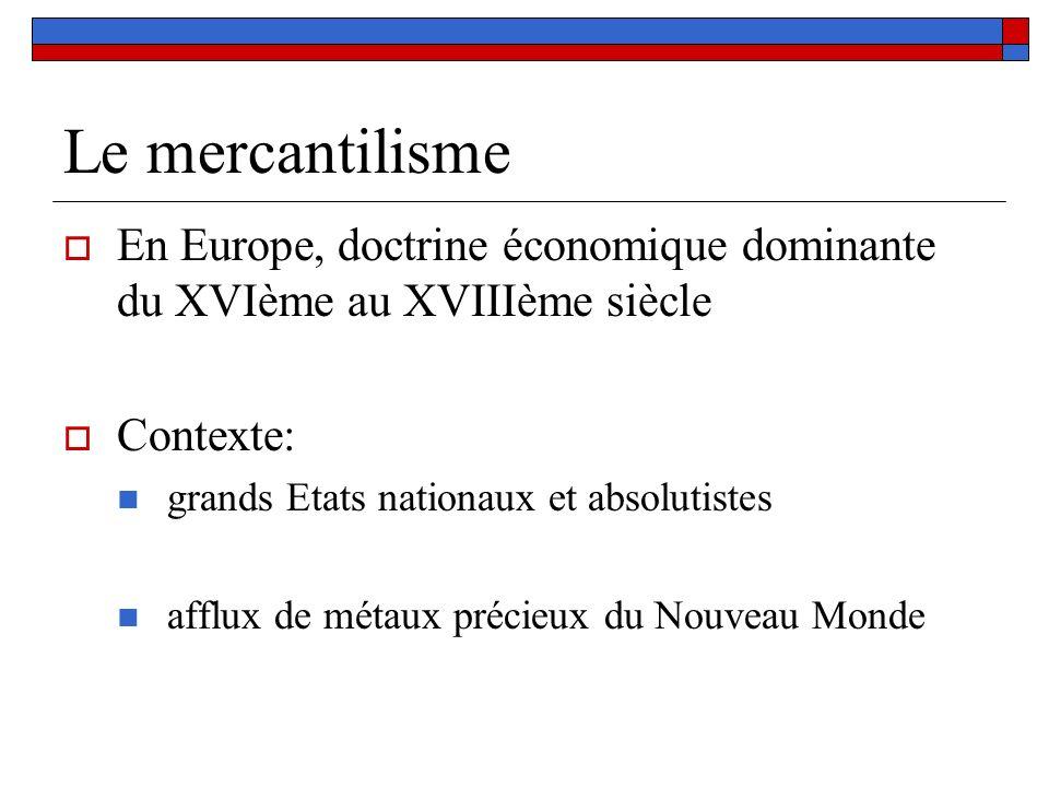 Le mercantilisme En Europe, doctrine économique dominante du XVIème au XVIIIème siècle. Contexte: grands Etats nationaux et absolutistes.