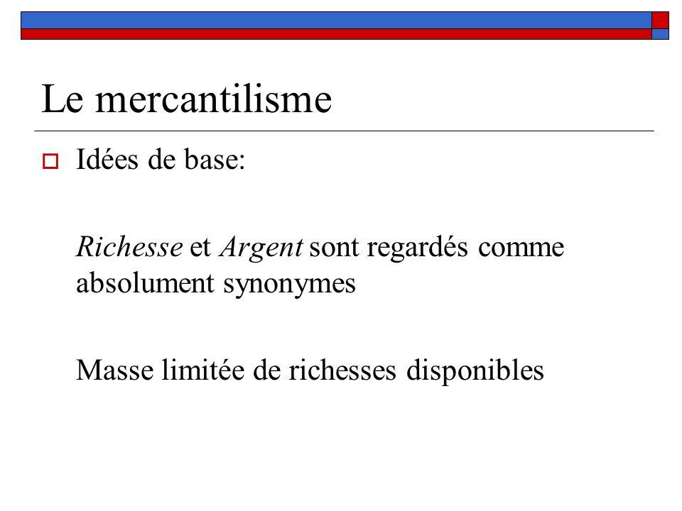 Le mercantilisme Idées de base: