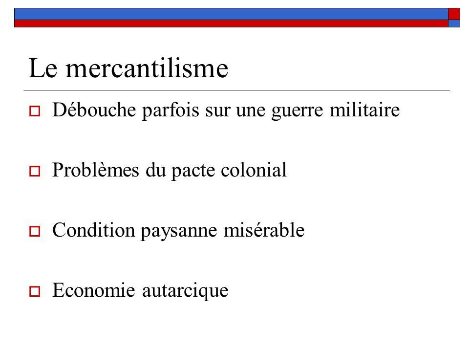 Le mercantilisme Débouche parfois sur une guerre militaire